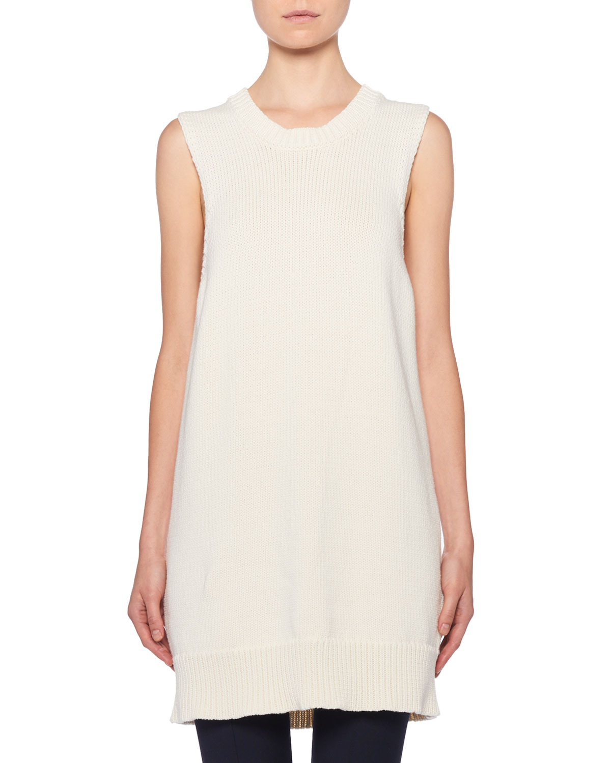 85431567d THE ROW Dee Sleeveless Ribbed Tunic Sweater
