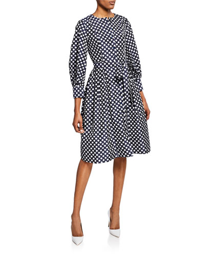 Carolina Herrera 3 4 Sleeve Polka Dot Shirtdress