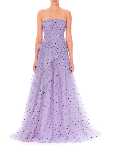 Strapless Heart-Print Draped Tulle Gown
