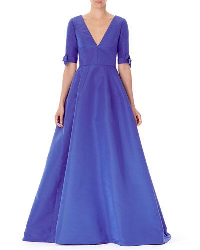 V-Neck Bow-Cuff Silk Gown