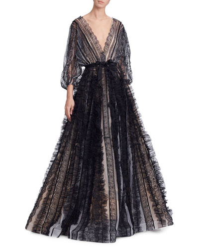 Lace-Striped Billowing-Sleeve V-Neck Ball Gown