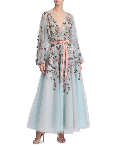 Floral & Dragonfly Embroidered V-Neck Tea-Length Gown