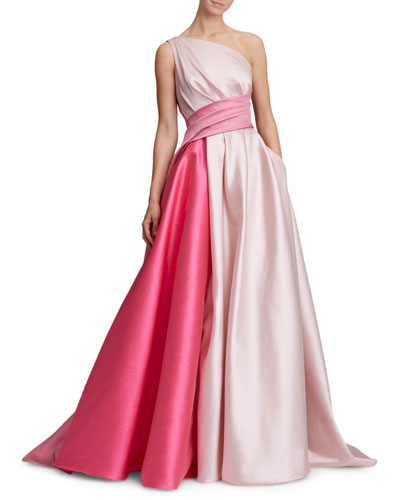 One-Shoulder Draped Bow-Back Colorblock Gown