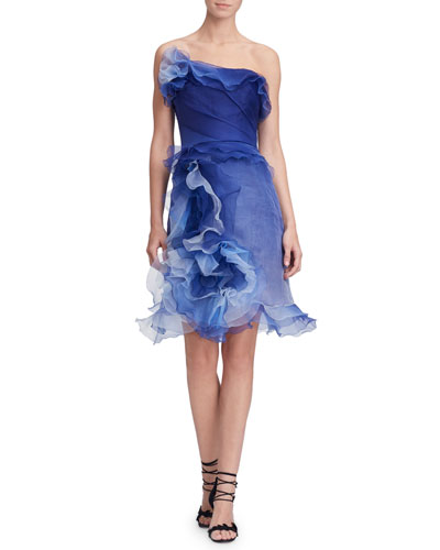 Strapless Ombre Ruffled-Silk Cocktail Dress