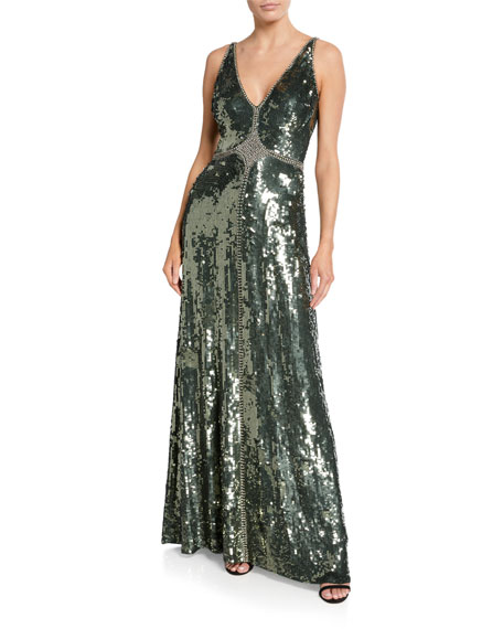 Jenny Packham HARIMA V-NECK SATIN GOWN