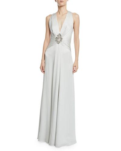 Jenny Packham Bali V Neck Embellished Wred Satin Gown