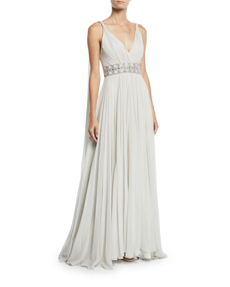 Jenny Packham TAHOE WRAPPED SILK-CHIFFON V-NECK GOWN