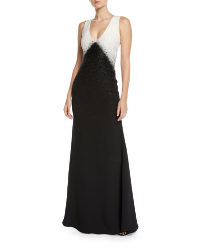 Toiny Sleeveless Colorblocked Sequined Gown
