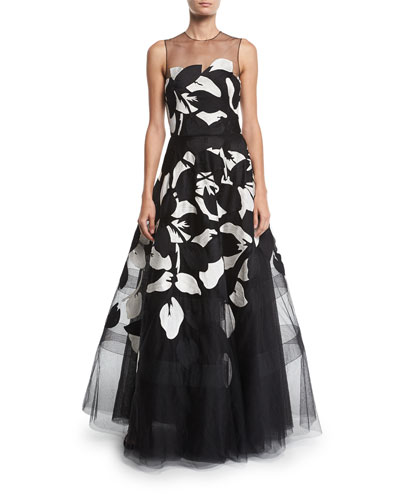 Girona Floral-Embroidered Tulle Illusion Gown