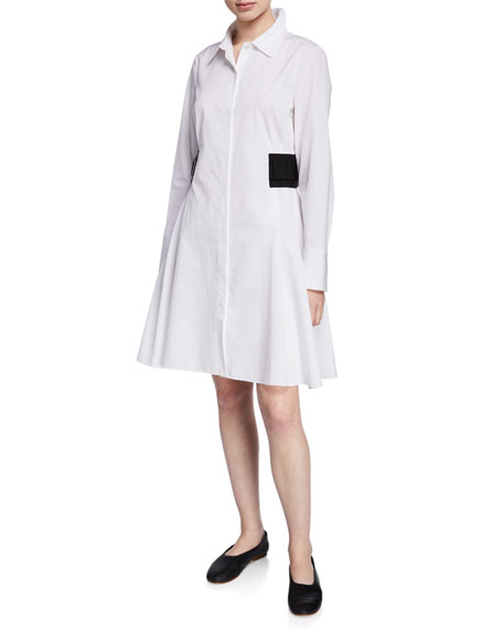 Partow DEVYN ELASTIC-SIDE BUTTON-FRONT SHIRTDRESS