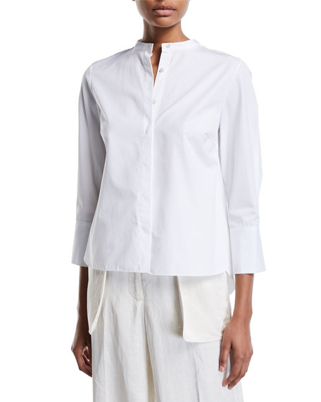 Partow 3/4-SLEEVE MANDARIN-COLLAR BUTTON-FRONT BLOUSE