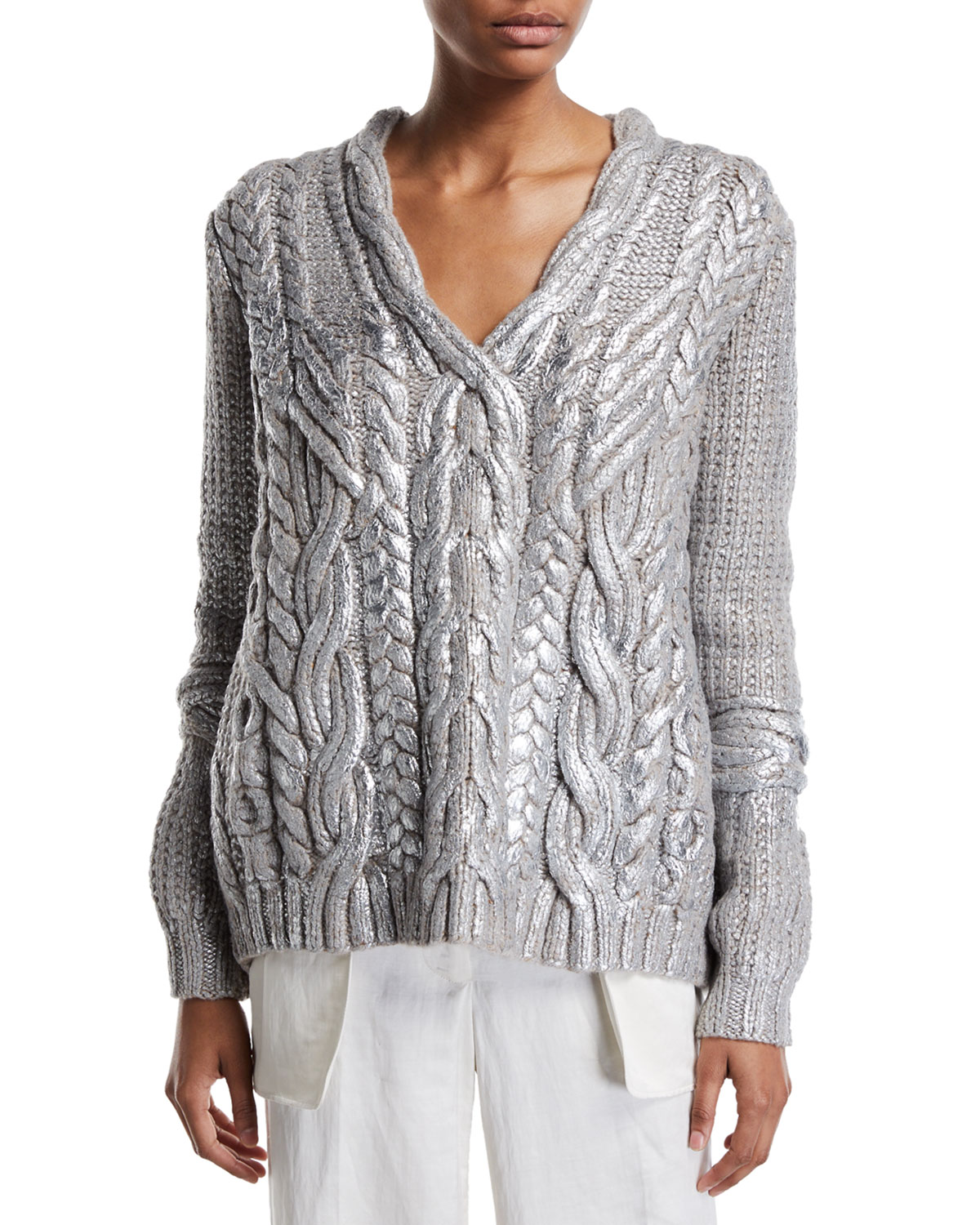 Partow Maxime Hand-Painted Cashmere Cable-Knit Sweater | Neiman Marcus