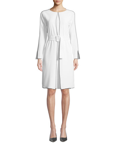 Long-Sleeve Belted Cady Dress