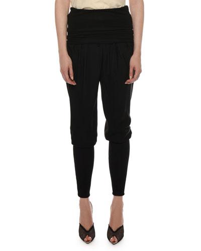 Long-Cuff Knit Harem Pants