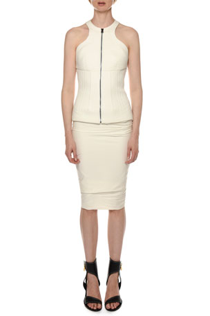 TOM FORD Structured Zip-Front Draped-Skirt Halter-Dress