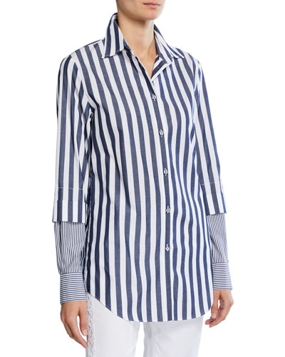 Two-Tone Striped Long-Sleeve Tunic