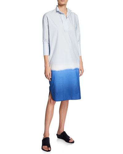 Ombre Cotton Shirtdress