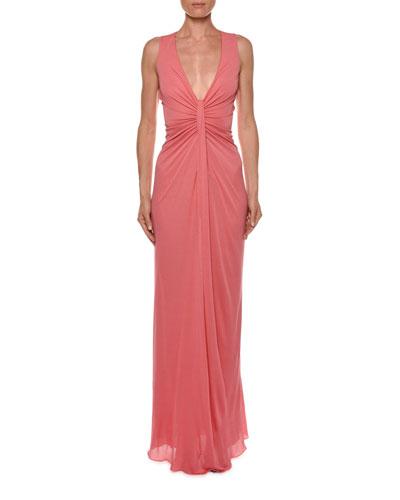 Sleeveless Draped-Center Column Gown