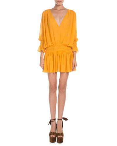 Smocked Drop-Waist V-Neck Mini Dress