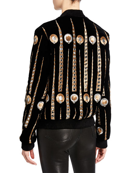Saint Laurent Metallic Embroidered Bomber Jacket