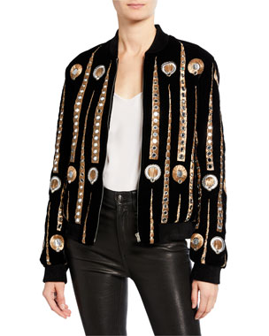 6915a255ecea7b Saint Laurent Metallic Embroidered Bomber Jacket
