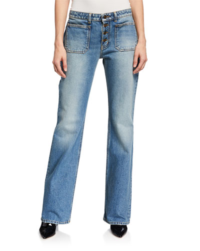 Exposed-Button Faded Flare Jeans