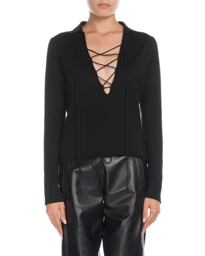 Cashmere-Silk Lace-Front Collared Blouse
