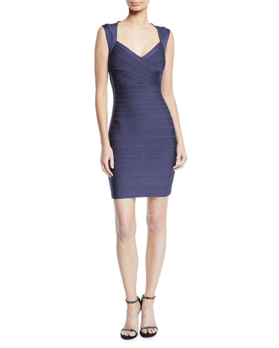 Crisscross-Front Bandage-Knit Bodycon Cocktail Dress