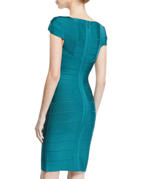 HERVE LEGER Dresses CAP-SLEEVE KNEE LENGTH BANDAGE DRESS