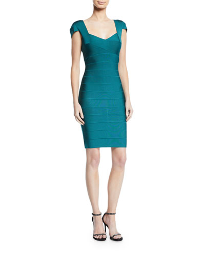 Cap-Sleeve Knee Length Bandage Dress