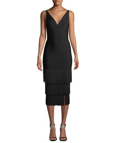 V-Neck Tiered Tassel-Hem Cocktail Dress