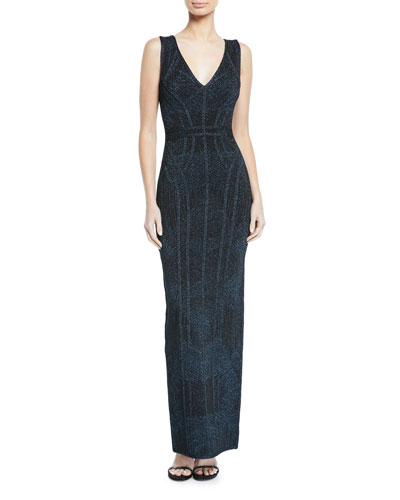 Shimmer Jacquard Column Gown