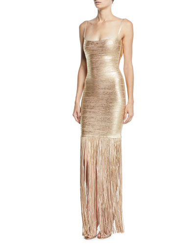 Square-Neck Strappy Foiled Fringe Gown