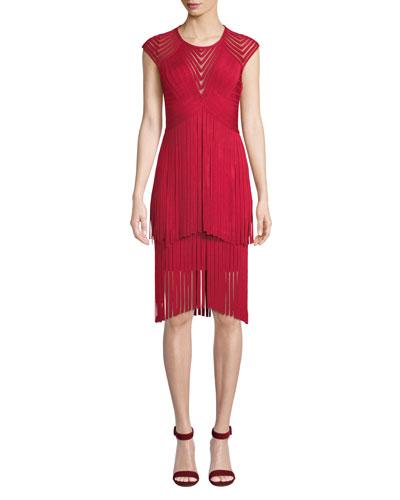 Short-Sleeve Fringed Mesh Illusion Dress