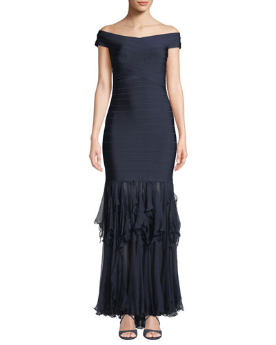 Off-The-Shoulder Gown with Ruffled-Chiffon Skirt
