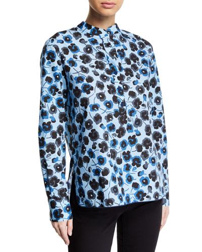 Floral Cotton Half-Button Shirt