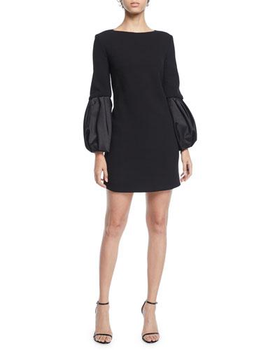 Duchess-Sleeve Boucle Shift Dress