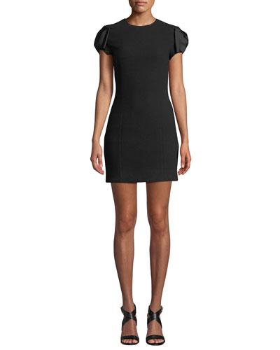 Satin Bow-Sleeve Boucle Crepe Mini Dress