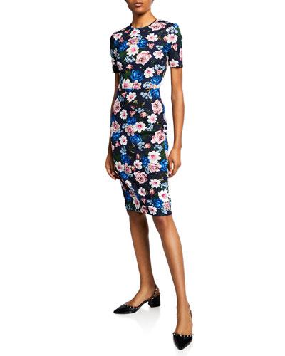Essie Short-Sleeve Round-Neck Cut-Waist Dress