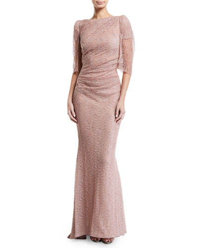 Draped Sheer-Sleeve Metallic Lace Gown