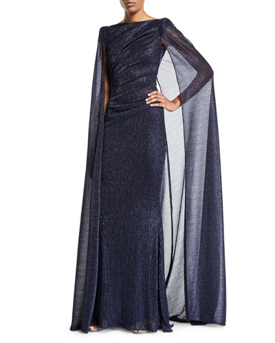 Shimmered Cape-Back Pleated-Waist Gown