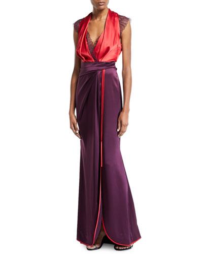 Lace-Trim Bicolor Shiny Satin Gown