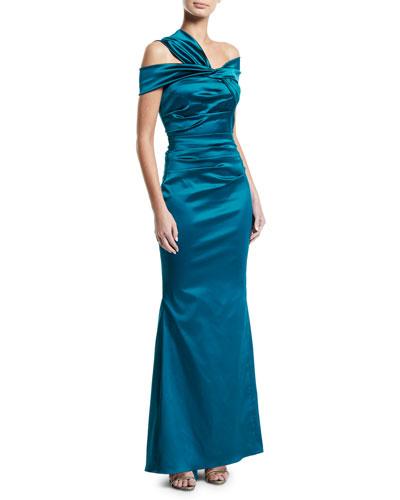 Asymmetric-Shoulder Stretch Satin Mermaid Gown