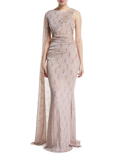 Draped Metallic-Lace One-Shoulder Gown