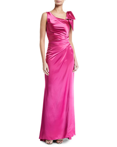 Shiny Satin Tie-Shoulder Gown