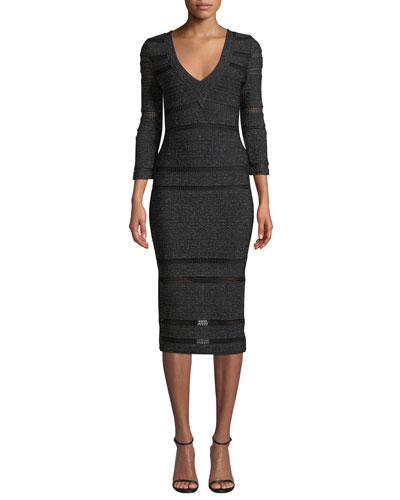 3/4-Sleeve Shimmered V-Neck Dress