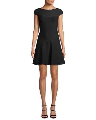 Cap-Sleeve Jacquard Flair-Skirt Dress