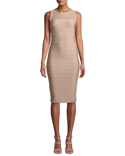 Sleeveless Tulle-Striped Illusion Cocktail Dress