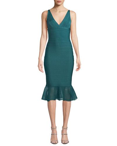 Sleeveless Tulle-Striped Illusion-Flounce Dress