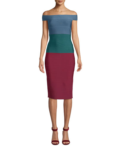 Off-The-Shoulder Tricolor Dress